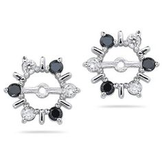 0.55 Ct White & Black Diamond Earring Jackets in 14K White Gold | Your #1 Source for Jewelry and Accessories