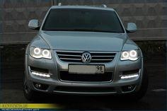 """Angel Eyes"" Headlights  Touareg 2 Volkswagen 2008 2009 2010 08 09 10 Angel Eyes Headlights LED Tuning SUV Custom VW Tiguan Jetta Passat CC Golf GTI R R32 32 R50 V6 V8 V10 TDI Diesel"