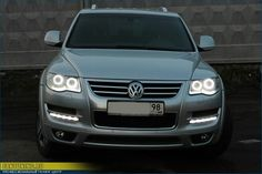 """Angel Eyes"" Headlights  Touareg 2 Volkswagen 2008 2009 2010 08 09 10 Angel Eyes Headlights LED Tuning SUV Custom VW Tiguan Jetta Passat CC Golf GTI R R32 32 R50 V6 V8 V10 TDI Diesel"