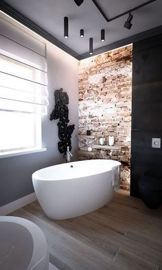 25 Stylish And Trendy Bathroom With Exposed Brick Tiles Bathroom Spa, Bathroom Layout, Bathroom Interior Design, Modern Bathroom, Bathroom Ideas, Bathroom Organization, Master Bathrooms, Luxury Bathrooms, Remodel Bathroom