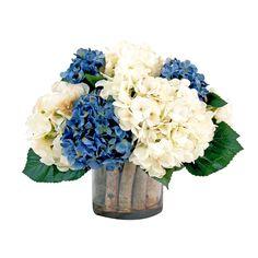 Creative Displays & Designs Cream And Blue Hydrangea Silk Flower Arrangement - CDFL931