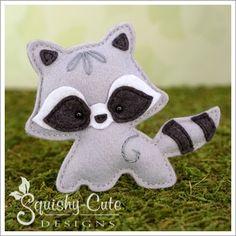 Baby raccoon sewing pattern - raccoon stuffed animal pattern - felt raccoon ornament pattern by Squishy Cute Designs.  Woodland mobile plushie