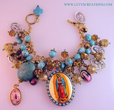 "Lety's Creations: ""Golden Radiance"" Our Lady of Guadalupe Charm Bracelet"