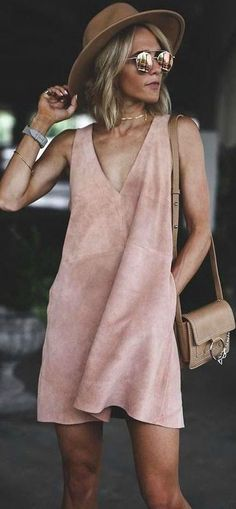 #summer #outfit / Rose Gold Short Suede Sleeveless Dress