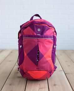 Oversized Buffalo Check Electric Coral / Regal Plum Run All Day Backpack