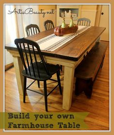 how to build your own farmhouse table for under 100 diy, diy, furniture furniture revivals, painting, woodworking projects Furniture Projects, Home Projects, Diy Furniture, Painted Furniture, Farmhouse Furniture, Modern Furniture, Furniture Design, Farmhouse Interior, Plywood Furniture