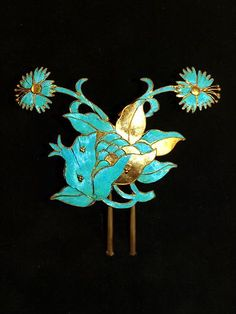 Antique Chinese Kingfisher hair pin head ornament 1800's old | eBay