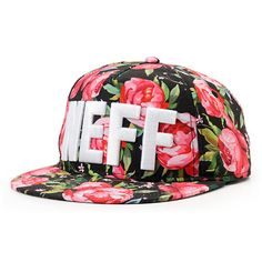 Stop and smell the roses in the stylish Neff girls black floral snapback hat. Add some fun to any outfit with the pink and black floral rose print pattern all-over, white Neff text embroidered at the front, black eyelets, soft mesh lining, and a black snapback sizing piece for a perfect fit.