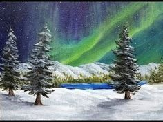 This is a full acrylic painting tutorial where I will teach you how to paint this peaceful northern lights winter landscape. This painting was done using onl. Acrylic Painting For Beginners, Acrylic Painting Techniques, Beginner Painting, Acrylic Painting Canvas, Watercolor Paintings, Watercolor Tips, Painting Videos, Painting Tips, Abstract Paintings