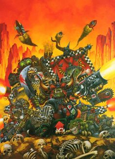 Ork Codex edition) cover art by Mark Gibbons Warhammer Armies, Warhammer 40k Art, Orks 40k, Fantasy Pictures, Game Workshop, Fantasy Illustration, Geek Art, Military Art, Sci Fi Art