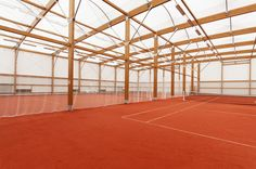 Covered sports hall and canopy construction, tennis court cover - SMC2 Architecture
