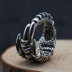 Men's Sterling Silver Eagle Talon Wrap Ring #silverjewellery