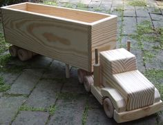 Wooden Truck Boy Toy Open Top Box Hauler by MyFathersHandsLLC