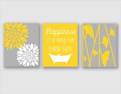 Modern Bath Art - Modern Floral Flower Artwork - Set of 3 - Trio Prints -Yellow and Gray Bathroom Wall Art - Bathroom Decor - Bathroom Art Gray Bathroom Walls, Yellow Bathrooms, Bathroom Wall Decor, Bathroom Colors, Bathroom Ideas, Bathroom Modern, Bathroom Pics, Yellow Bathroom Decor, Turquoise Bathroom