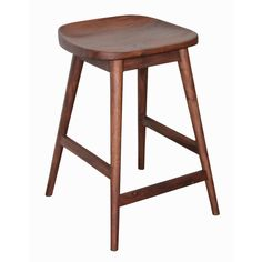 Provide seating at your bar or kitchen counter with this wood counter stool featuring a simple, classic design. This stool offers solid wood construction and a dark brown finish that brings a traditio