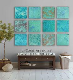 Abstract painting modern original large Turquoise Blue Green Orange ...