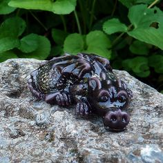 Baby Dragon - Ally is made of glass and looks so cute perched on a rock, a book or in your fairy garden. What a delightful handmade item for dragon lovers! $35.00 CAD