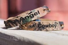 His Angel and Her Cowboy Braided #Realtreecamo LEATHER Bracelet -set of two bracelets