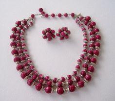 Vintage 60s Retro Regency Signed Japan Demi Parure Multistrand Goldtone Dark Pink Bead Necklace Cluster Earrings Set by ThePaisleyUnicorn, $14.00