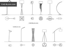 Premium AutoCAD blocks of floor lamps. Plan and side views of the modern lamps. Autocad, Floor Plan Symbols, Architecture Symbols, Rustic Floor Lamps, Plan Sketch, Interior Design Sketches, Construction Drawings, Plan Drawing, Cad Blocks