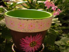 170 best painted flower pots images on pinterest painted flower painted flower pot green pink brown rustic aged look mightylinksfo