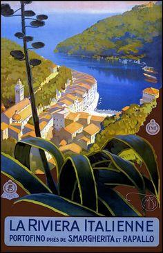 ".:. Mario Borgoni  | ""The Italian Riviera"".(Italian, 1869-1936) poster of Italian coast, c. 1920′s"
