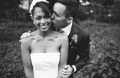 Love this black and white photo of the bride and groom