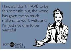 Sarcasm, and I'm not one to be wasteful so..