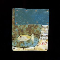 """Judith Hoyt: Brooch in found metals, copper, and stainless steel.2 x 1.75"""""""