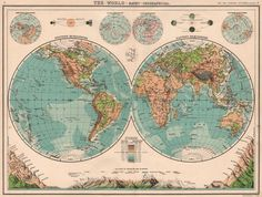 World Twin Hemispheres Relief Map Mountains Eclipses Snowline Seasons 1901 Antique World Map, Antique Maps, Vintage World Maps, Worlds Largest, Twins, Seasons, Mountains, Antiques, Ebay