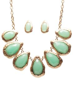 Oliana Gem Statement Necklace & Earrings Set #shoplately