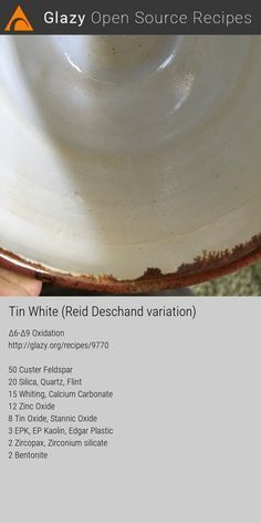 Glazy Ceramics Pottery Recipe: Glaze, White, Off-White, Cone Oxidation Recipe Tin, Open Recipe, Ceramic Techniques, Pottery Techniques, Glazing Techniques, Glazes For Pottery, Ceramic Pottery, White Glaze Recipe, Ceramic Glaze Recipes