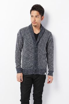 Azul by Moussy Men's Knitted Shawl Collar Cardigan