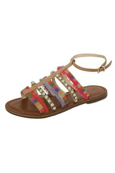 8eedd7a3717ca Summers must have sandal! Natural leather flat sandal with multi color  straps and turquoise colored