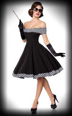 Belsira - Schulterfreies Swingkleid, schwarz-weiß