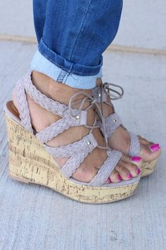 b372430abf2c In The Air Open Toe Cork Lace Wedges ~ Taupe ~ Sizes 5.5-10 Lace