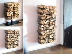 fireplace wood holder basket diy indoor firewood storage rack modern indoor firewood holder ideas wall mounted fireplace wood holder fireplace tools names Indoor Log Storage, Indoor Firewood Rack, Log Store Indoor, Outdoor Storage, Wall Mounted Fireplace, Fireplace Logs, Fireplace Outdoor, Wood Holder For Fireplace, Etagere Design