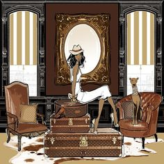 """Megan Hess en Instagram: """"My Louis Vuitton Room illustration taken from my book Fashion House. Battered chocolate leather chairs with their signature trunks...makes me want to fly somewhere!"""""""