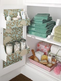 Double-Duty Doors  Make the most of vertical space behind closed doors. You might have more storage options than you realize -- try additional shelves, racks, hooks, and hanging baskets on the back of existing vanity or closet doors. I also love the shelf dividers (upside down brackets).