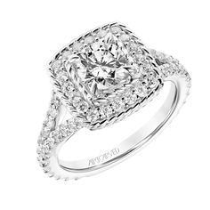 New for our Spring collection! Alexa: Contemporary Inner & Outer Rope and Diamond Halo Engagement Ring with Split Diamond Shank and Rope Details in Gallery #artcarvedbridal #spring #whitegold #engagementring