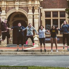 #BlueHens acting very excited outside of the Lincoln University library in New Zealand. #UDAbroad