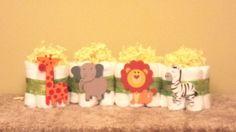 Safari Mini Diaper Cakes/Centerpieces - Ship Ready