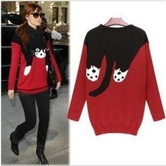 Long Sleeve Round Neck Cat Face Sweater