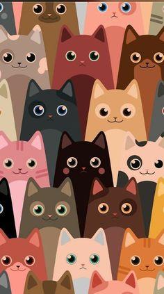 40 Ideas for cats wallpaper pattern wallpapers kittens - 动物与宠物 - Cat Wallpaper Wallpaper Gatos, Cat Phone Wallpaper, Wallpaper Backgrounds, Cell Phone Wallpapers, Drawing Wallpaper, Kawaii Wallpaper, Iphone Backgrounds, Animal Wallpaper, Mobile Wallpaper
