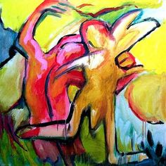 Amor, Acrylic on canvas, 1 x 1 m, #art,#kunst,#expressionism,#expressionismus,