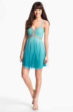 As U Wish Embellished Ombré Party Dress (Juniors) available at Nordstrom Sorority Formal, Junior Party Dresses, Formal Dance, Got Married, Cute Dresses, Hemline, Cute Girls, Nordstrom, Prom