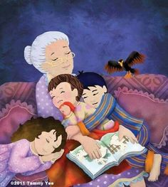 Animated image of grandma with three grandchildren in her arms Grands Parents, Grandchildren, Grandkids, Reading Art, Kids Reading, I Love Books, Books To Read, Grandma Quotes, Photocollage