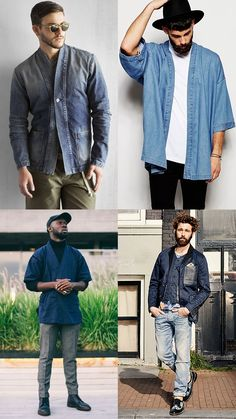 2016 Men's Japanese/Kimono-style Jeans Outfit Inspiration Lookbook