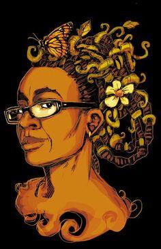 Portrait of sci-writer Nnedi Okorafor by Black Comix
