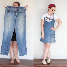 Transforme suas roupas velhas em roupas novas e diferentes (com imagens) Diy Clothing, Sewing Clothes, Boutique Clothing, Women's Summer Fashion, Diy Fashion, Dress Design Sketches, Funky Dresses, Denim Ideas, Denim Crafts